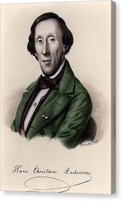Portrait Of Hans Christian Andersen Canvas Print by Johan Frederick Moller