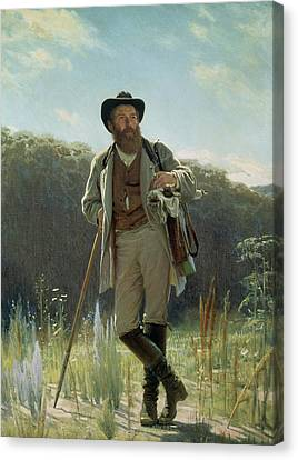 Portrait Of Ivan Ivanovich Shishkin Canvas Print by Ivan Nikolaevich Kramskoy