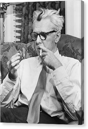 Portrait Of James Thurber Canvas Print by Fred Palumbo