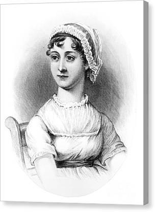 Portrait Of Jane Austen Canvas Print by English School