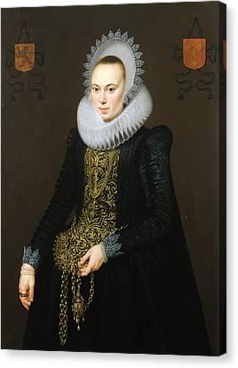 Portrait Of Justina Van Teylingen, 1616 Oil On Panel See 307901 For Pair Canvas Print by Cornelis van der Voort