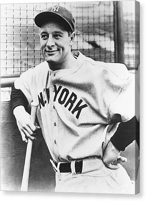 Portrait Of Lou Gehrig Canvas Print by Underwood Archives