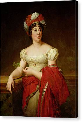 Portrait Of Madame De Stael Canvas Print by Marie Eleonore Godefroid