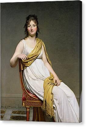Portrait Of Madame Raymond De Verninac Canvas Print by Jacques Louis David