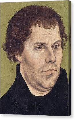 Portrait Of Martin Luther Aged 43 Canvas Print by Lucas Cranach