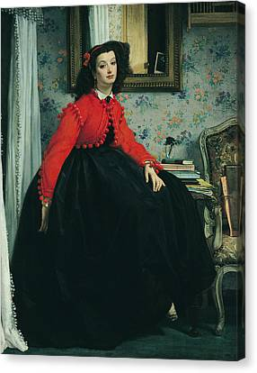 Young Lady In A Red Jacket Canvas Print by James Jacques Joseph Tissot