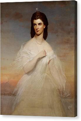 Portrait Of Queen Maria Sophia Of Naples Canvas Print by Franz Xaver Winterhalter