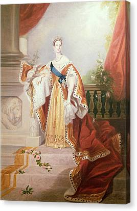 Portrait Of Queen Victoria Canvas Print by Alfred-Edward Chalon