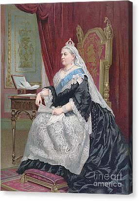 Portrait Of Queen Victoria Canvas Print by English School