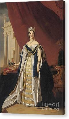 Portrait Of Queen Victoria In Coronation Robes Canvas Print by Franz Xaver Winterhalter