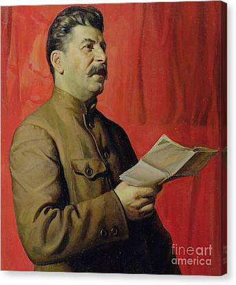 Portrait Of Stalin Canvas Print by Isaak Israilevich Brodsky