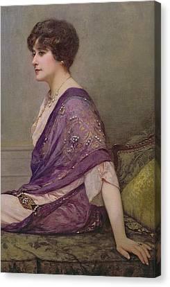 Portrait Of Th Ecourturier Madame Paquin Canvas Print by Henri Gervex