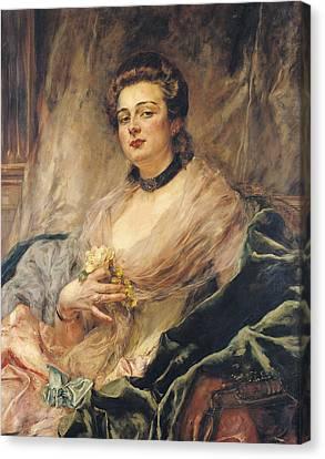 Portrait Of The Artists Wife Oil On Canvas Canvas Print by Eduardo-Leon Garrido