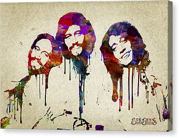 Portrait Of The Bee Gees Canvas Print by Aged Pixel