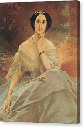 Portrait Of The Countess Of Hallez-claparede Canvas Print by Edouard Louis Dubufe
