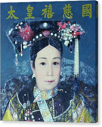 Portrait Of The Empress Dowager Cixi 1835-1908 Oil On Canvas Detail Of 90986 Canvas Print by Chinese School