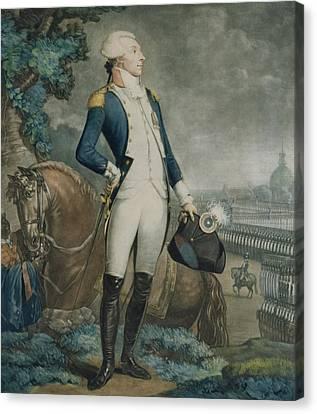 Portrait Of The Marquis De La Fayette Canvas Print by Philibert-Louis Debucourt