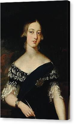 Portrait Of The Young Queen Victoria Canvas Print by English School