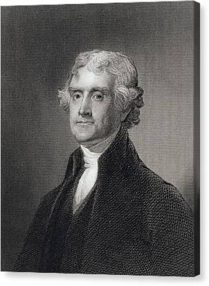 Portrait Of Thomas Jefferson Canvas Print by Henry Bryan Hall