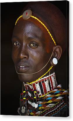 Portrait Of Young Samburu Man Canvas Print by Toby Adamson