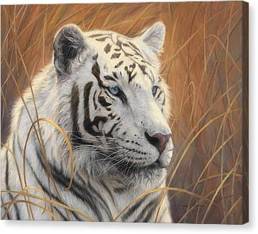 Portrait White Tiger 2 Canvas Print by Lucie Bilodeau