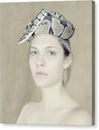 Portrait With The Snake Canvas Print by Zina Zinchik