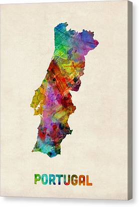 Portugal Watercolor Map Canvas Print by Michael Tompsett