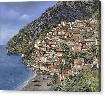 Positano E La Torre Clavel Canvas Print by Guido Borelli