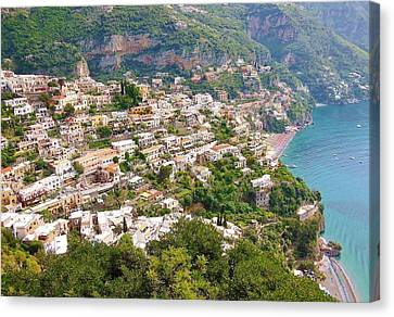 Positano Panorama Canvas Print by Marilyn Dunlap
