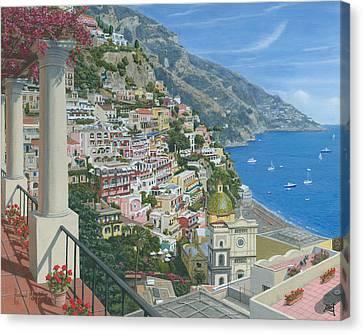 Positano Vista Amalfi Coast Italy Canvas Print by Richard Harpum