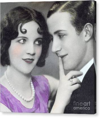 Postcard Depicting Two Lovers Canvas Print by Italian School