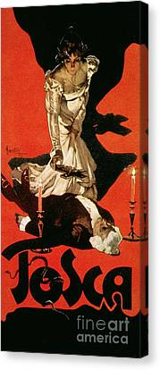 Poster Advertising A Performance Of Tosca Canvas Print by Adolfo Hohenstein