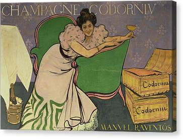 Poster Advertising Codorniu Champagne  Canvas Print by Ramon Casas i Carbo