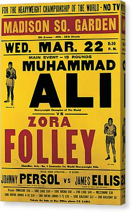 Poster Advertising The Fight Between Muhammad Ali And Zora Folley In Madison Square Garden Canvas Print by American School