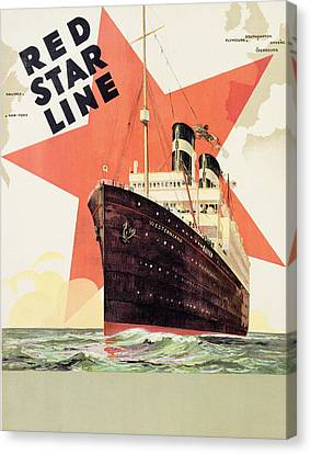 Poster Advertising The Red Star Line Canvas Print by Belgian School