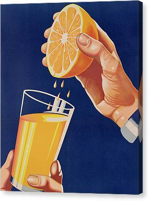 Poster With A Glass Of Orange Juice Canvas Print by Israeli School