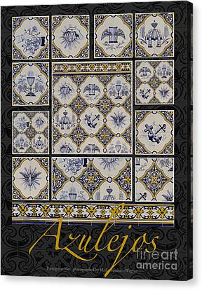 Poster With Beige-blue Portuguese Tile-works Canvas Print by Heiko Koehrer-Wagner