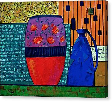 Pot Aux Tulipes Rouges Canvas Print by Mirko Gallery