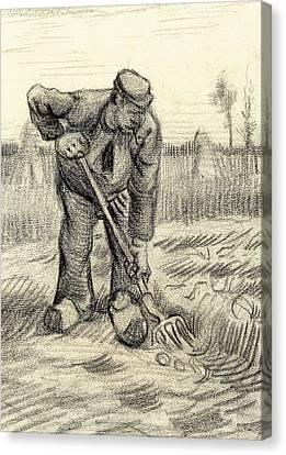 Potato Gatherer Canvas Print by Vincent Van Gogh