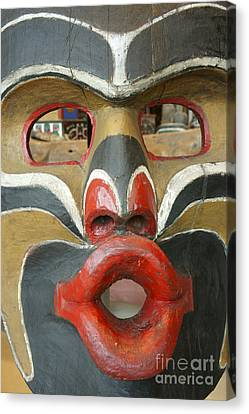 Potlatch Face British Columbia Canada Canvas Print by John  Mitchell