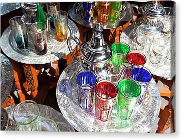 Pots Of Mint Tea And Glasses, The Souk Canvas Print by Peter Adams