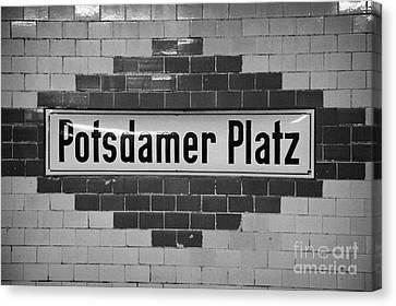 Potsdamer Platz Berlin U-bahn Underground Railway Station Name Plate Germany Canvas Print by Joe Fox