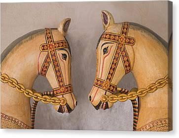 Pottery Horses, Jaipur, Rajasthan, India Canvas Print by Keren Su