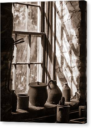 Pottery On A Stone Sill Canvas Print by Chris Bordeleau