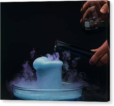 Pouring Coloured Fluid Into A Beaker Canvas Print by Dorling Kindersley/uig