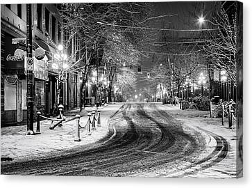 Powell And Carrall Street In Gastown Canvas Print by Alexis Birkill