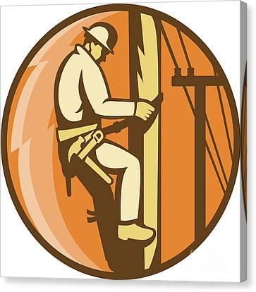 Power Lineman Electrician Climbing Utility Post Canvas Print by Aloysius Patrimonio