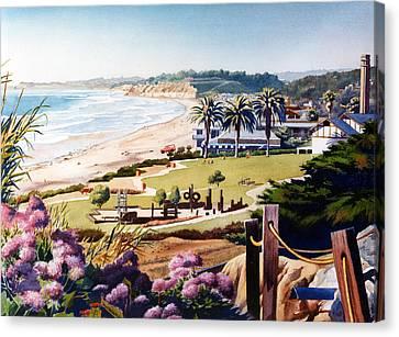 Powerhouse Beach Del Mar Lilac Canvas Print by Mary Helmreich