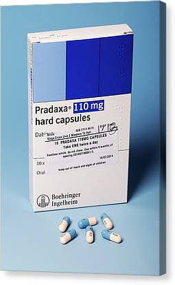Pradaxa Drug Packaging And Capsules Canvas Print by Mark Thomas