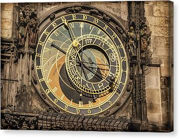 Prague Astronomical Clock Canvas Print by Joan Carroll